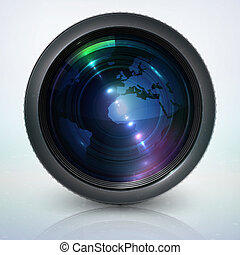 lentille, globe, appareil photo