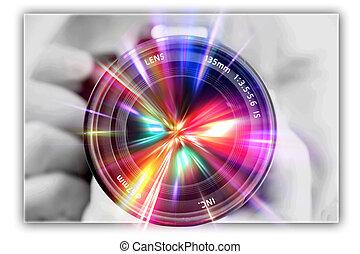 lentille, photographe, photographier, mains