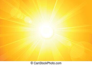 lentille, soleil, clair, vecteur, flamme