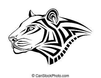 leopar, tatouage, tribal