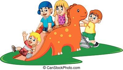 les, échelle, quelques-uns, jouer, dinosaure, diapo, montée, enfants, heureux