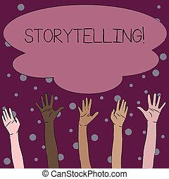 les, concept, diversité, business, coloré, atteindre bas haut, texte, mains, écriture, multiracial, histoires, storytelling., mot, grand, cloud., activité, public, élévation, édition