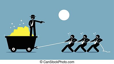 les, dur, gun., travail, forcer, menacer, patron, employés, ouvriers
