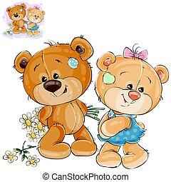 les, elle, donner, bouquet, teddy, dos, ours, derrière, vecteur, défi, peaux, pas, fleurs, girlfriend.