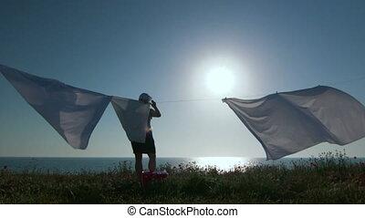 lessive, blanc, silhouette, clothesline, femme foyer