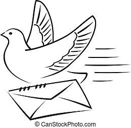 letter., carrier-pigeon
