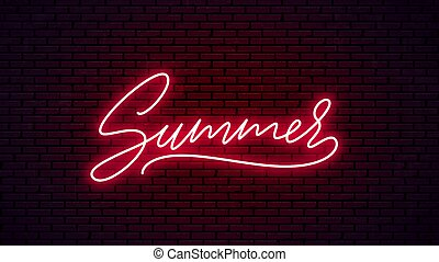 lettering., dessiné, main, été, néon