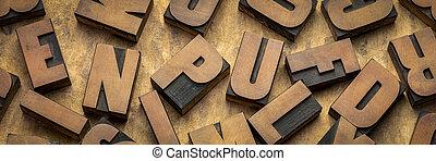 letterpress, bois bloque, vendange, impression, type