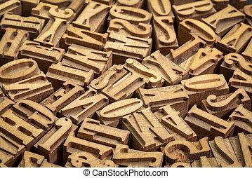 letterpress, bois, type, blocs, impression