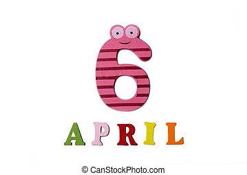 letters., avril, nombres, fond, 6, blanc
