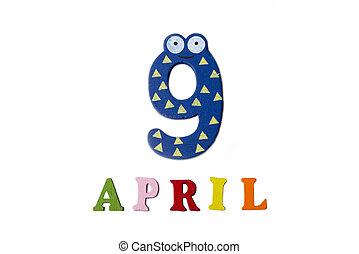 letters., avril, nombres, fond, 9, blanc