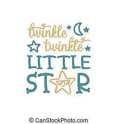 lettrage, étoile, scintillement, citation, peu