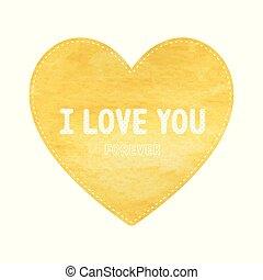 lettrage, aimez coeur, symbole, jaune, vous