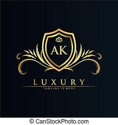lettrage, ak, créatif, couronne, initiale, template.elegant, vecteur, lettre, illustration., vecteur, logo, royal