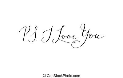 lettrage, amour, positif, -, écrit, main, p.s., romain, citation, vous