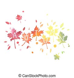 lettrage, aquarelle, autumn., leaves., imitation., bigarré