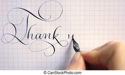 lettrage, calligraphie, remercier, vendange, stylo, locution, vous, police