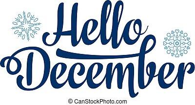 lettrage, card., décembre, bonjour, vacances, decor.