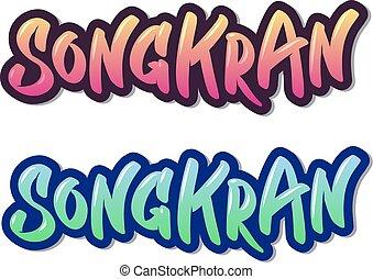 lettrage, coloré, inscriptions, deux, main, songkran