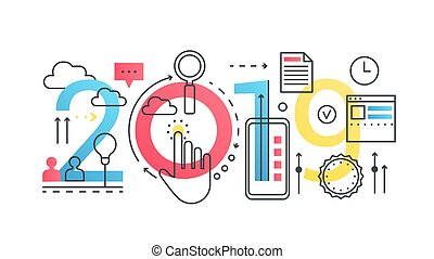 lettrage, concept, mot, finance, business, banner., icônes, ligne, innovation., plat, typographie, arrière-plan., coup, 2019, innovation, branché, blanc, technologie, composition, contour