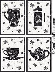 lettrage, ensemble café, poster., cup., thé, main, chaud, vecteur, menu, dessiné, tasses, conception, pot