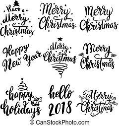 lettrage, ensemble, card., affiche, isolé, illustration, salutation, arrière-plan., emblèmes, vecteur, conception, année, 2018., nouveau, noël blanc, éléments