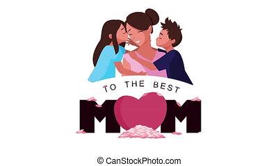 lettrage, gosses, maman, enfante jour, heureux