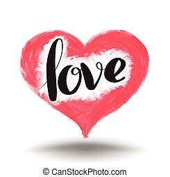 lettrage, heart., amour, peinture