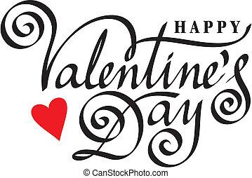 lettrage, heureux, main, jour, valentin