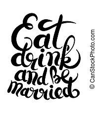 lettrage, inscription, boisson, noir, blanc, manuscrit, manger, marrid