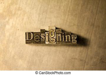 lettrage, letterpress, métal, -, signe, concevoir