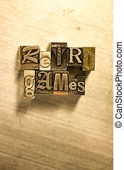 lettrage, letterpress, métal, -, signe, jeux, retro