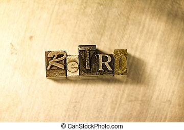 lettrage, letterpress, métal, -, signe, retro