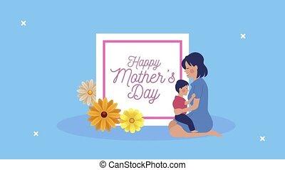 lettrage, mères, maman, heureux, jour, fils