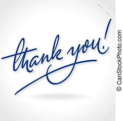lettrage, main, remercier, (vector), vous