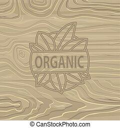 lettrage, organique, arrière-plan., nourriture, bois, vecteur