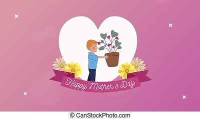 lettrage, ruban, mères, heureux, jour, fils