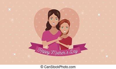 lettrage, ruban, mères, maman, fille, jour, heureux