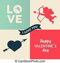 lettrage, saint-valentin, coeur, ange, cupidon, heureux, carte