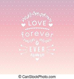 lettrage, toujours, éléments, coeur, vendange, ever', typographie, 'love, t-shirt, hand-drawn, vecteur, conception, arrows., habillement