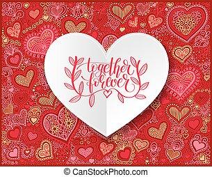 lettrage, toujours, amour, citation, ensemble, main écrite, amitié