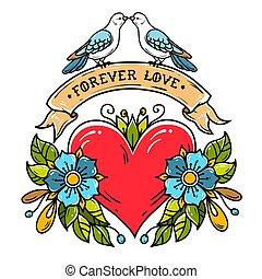 lettrage, toujours, ribbon., amour, card., coeur, valentines, feuilles, ruban, roses, doves., jour, rouges