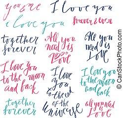 lettrage, vecteur, amour