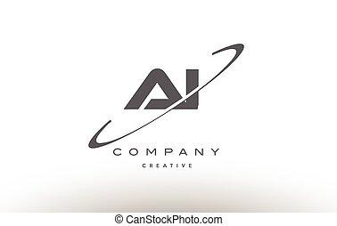 lettre, ai, gris, logo, alphabet, swoosh