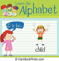 lettre c, enfant, flashcard