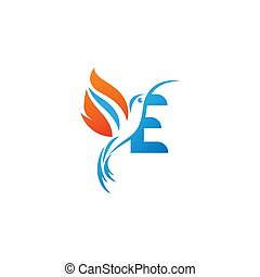 lettre, colibri, combiné, logo, icône, aile, brûler, e