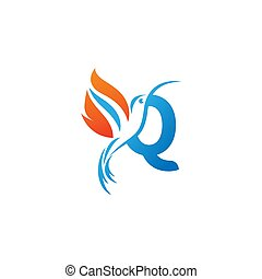 lettre, colibri, combiné, logo, icône, aile, brûler, q