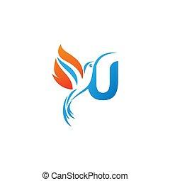 lettre, colibri, combiné, logo, u, icône, aile, brûler