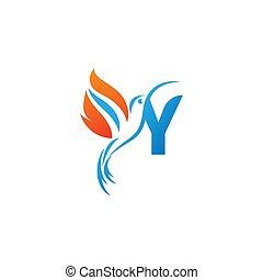 lettre, colibri, combiné, logo, y, icône, aile, brûler