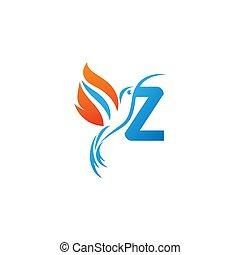 lettre, colibri, combiné, z, logo, icône, aile, brûler